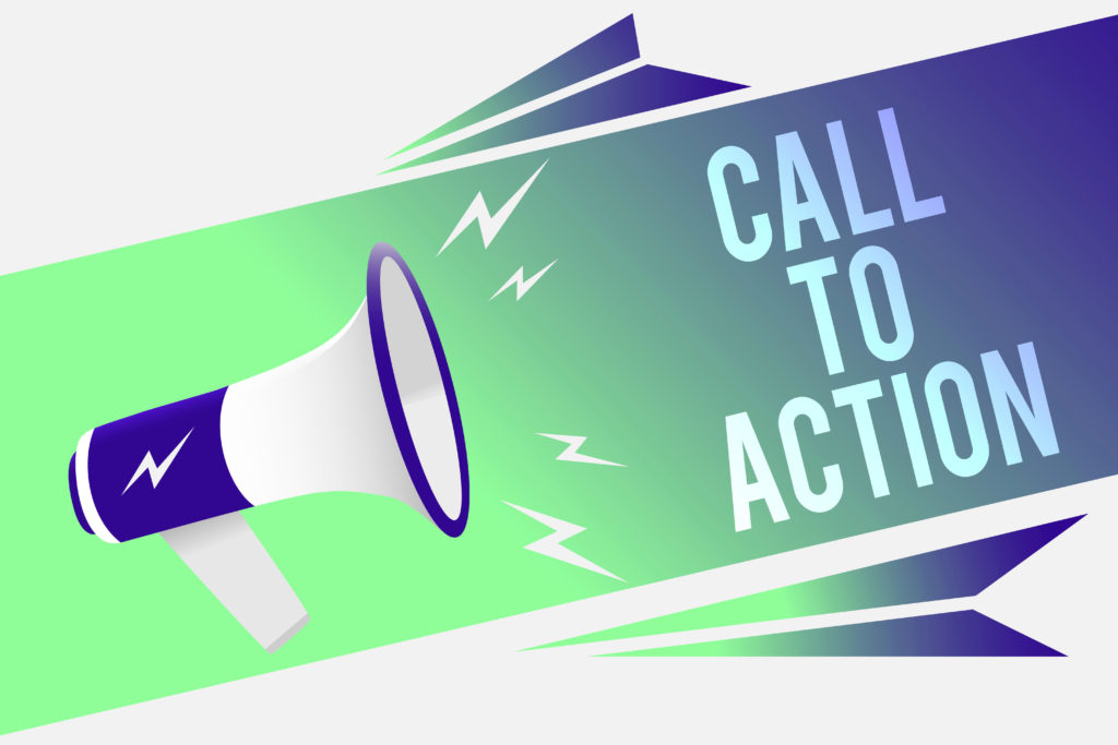 Word writing text Call To Action. Business concept for Encourage Decision Move to advance Successful strategy Megaphone loudspeaker speech bubble important message speaking out loud